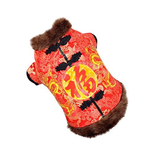 Yowablo Hundekleidung Mode neuen chinesischen Stil Anzug Herbst und Winter Komfort Katze (XL,1- Rot)