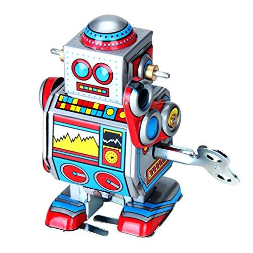 F Fityle Giocattoli a Molla in Stile Vintage Robot in Metallo Latta Meccanismo a Molla Action Figures novità Regalo di Natale