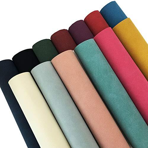 ZAIONE 13 piezas de 21 cm x 30 cm, colores surtidos, tela de gamuza sintética de PVC, hojas de piel sintética para manualidades, lazos, zapatos, bolsos, pendientes, costura, decoración del coche