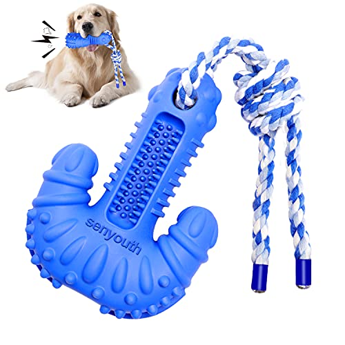 senyouth Dog Chew Toys, Interactive Dog Toothbrush Toy with Rope, Dog Chews for Aggressive Chewers ,...