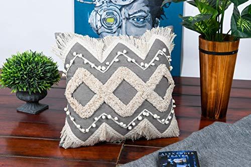 IMPEXART PVT LTD Kissenbezug 18X18 Zoll Baumwolle Soft Throw Kissenbezug für Sofa & Couch - Grauer Kissenbezug Dekorative Kissen für Wohnzimmer