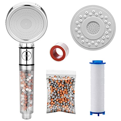 KAIYING Cabezal de ducha, 3 modos, descalcificador de agua, ducha con filtro de algodón de polipropileno, piedras de filtro extra, panel de repuesto (sin manguera, transparente)