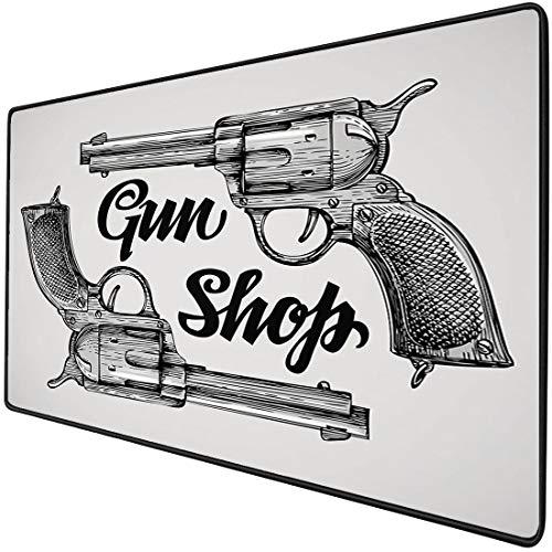 Mauspad-Spielfunktion Western Dicke wasserdichte Desktop-Mausmatte Moderne Westernfilme Cowboy Texas Times Sketchy Style Zwei Pistolen Pistolen,Schwarz Hellgraurutschfeste Gummibasis
