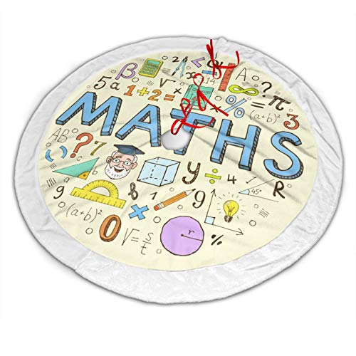 RTBB Christmas Tree Skirt 48' 3D Maths numbers formula operations Soft Plush Mat for Xmas Party Decoration Holiday Decor