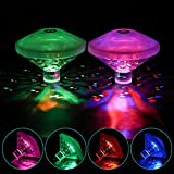 AsiFancy 2 Pack Swimming Pool Lights, Led Disco Spa Party Light, Glow Floating Pool Light Waterproof Baby Bath Toy,Battery Powered 7 Lighting Modes Hot Tub Spa Light for Parties, Pond Decoration