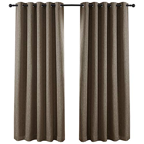 QINUO HOME Soft Plain Heavy Thick Window Fully Lined Treatment Thermal Insulated Ring Top Curtains Blackout Curtains for Living Room Curtain New York, 2-Pack, 66 by 54_inch, Stone