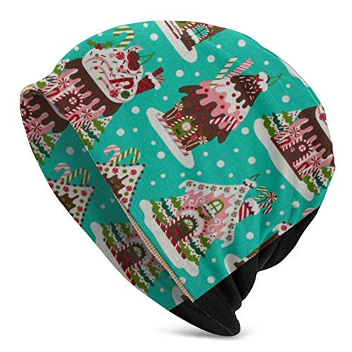 Qinckon Casas de Pan de Jengibre navideñas Gorro Suave de Punto Holgado Gorro de Calavera Acogedor Gorro de Dormir elástico Ligero para Unisex