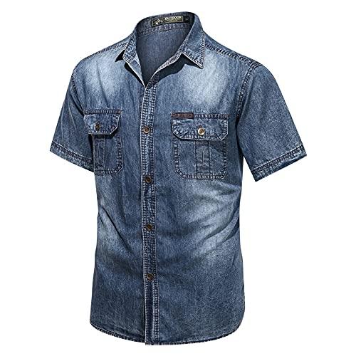 Camisa de Manga Corta para Hombre, Moda Retro, Costura de Bolsillo con Costura Lavada, Tendencia Informal, Ropa de Calle al Aire Libre, Camisas de Mezclilla básicas 3XL