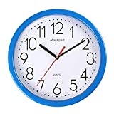Moonport - Reloj de pared de 10 pulgadas, moderno, silencioso, redondo, fácil de leer, para casa, cocina, oficina, reloj Shcool, funciona con pilas, 25 cm, color azul