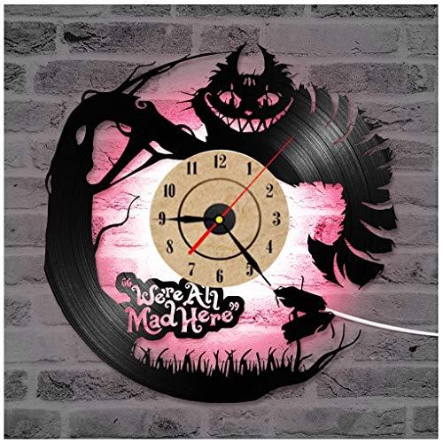 ZhangXF Alice im Wunderland Vinyl Record Wanduhr, LED Leucht 12 Zoll Retro Vinyl Record Clock Dekoration Sieben Farben