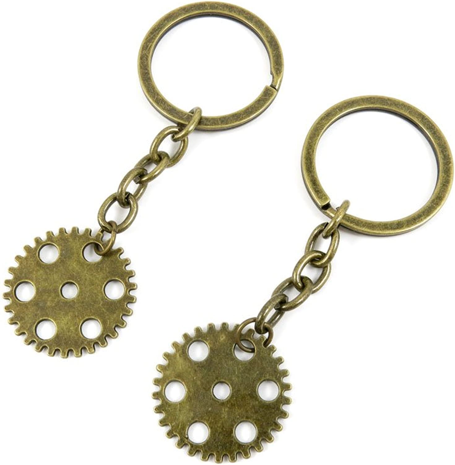 100 PCS Keyrings Keychains Key Ring Chains Tags Jewelry Findings Clasps Buckles Supplies N4SK6 Wheel Gear