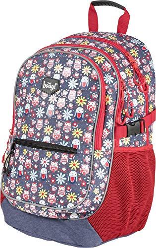 Baagl Kinderrucksack für Mädchen, Schulrucksack für Kinder mit ergonomisch geformter Rücken, Brustgurt und reflektierende Elemente (Glückliche Eulen)