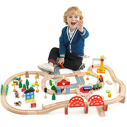 Wondertoys Wooden Train Set - 120 Piece Wooden Track & Train Pack Fits Thomas, Brio, Chuggington, and Other Major Brands- Toy Train Set Kids Friendly Building Toy for 3+ Years Old Girls & Boys