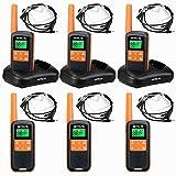 Retevis RT649 Walkie Talkie, PMR446 16 Canales Licencia Libre, VOX SCAN, Linterna LED, IP65 Impermeable, Dos Métodos de Carga, Walkie Talkie con Auriculares (Naranja, 6 Piezas)