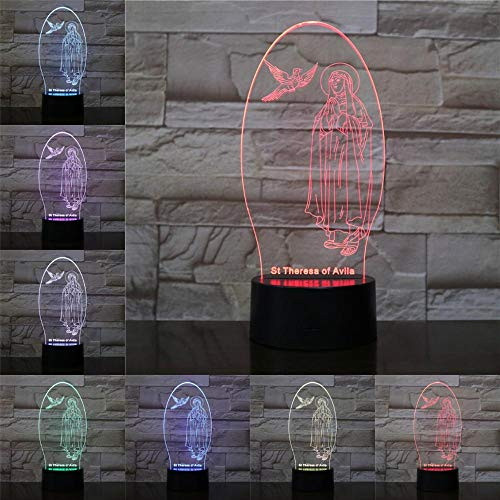 Only 1 Piece Jesus Disciple USB 3D Lamp St Theresa Avila Mother Gift Bible Stories Optic Fiber Light Bea Touch Multicolor Light