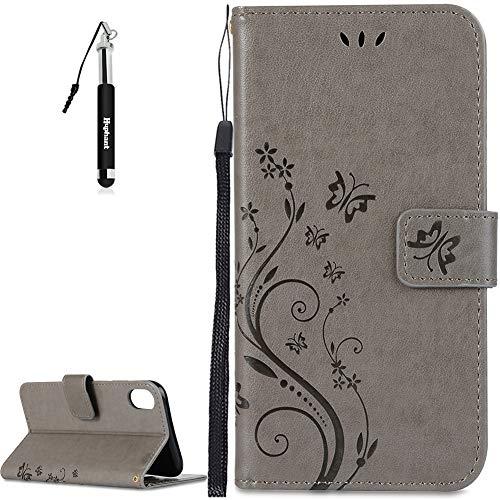 Huphant iPhone XR Hülle, iPhone XR Leder Tasche Grau Schmetterling Flip Schutzhülle Wallet Case Tasche Hülle für iPhone XR Handytasche Bookstyle Stand Kartenfächer Magnet -Grau