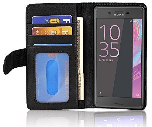 Cadorabo Hülle für Sony Xperia X Performance in Oxid SCHWARZ – Handyhülle mit Magnetverschluss & 3 Kartenfächern – Hülle Cover Schutzhülle Etui Tasche Book Klapp Style