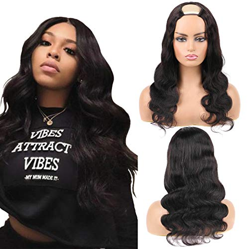 U Part Wig 100% Human Hair Wigs Body Wave For Black Women 150% Density Natural And Soft Brazilian Glueless U Part Hair Extensions Clip In Half Machine Made Wigs 16 Inch Natural Color