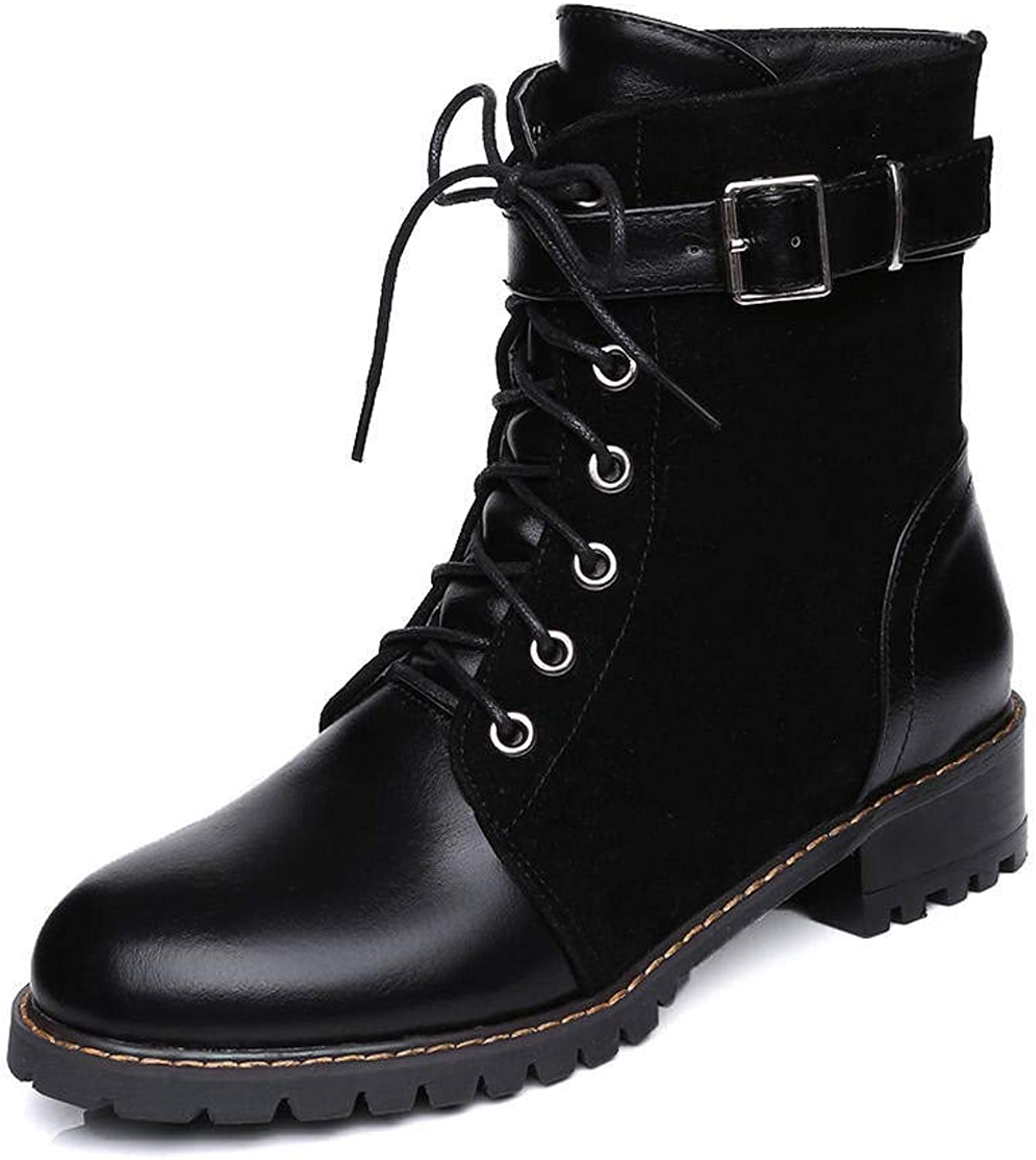 Women's Lace-up Fashion Solid color Round Toe Low Heel Boots(Black-4 M US)