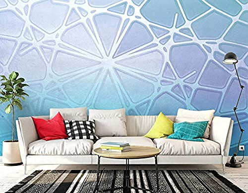 Carta da parati 3D Murales Geometrico Astratto Azzurro Moderno Soggiorno Camera da letto Tv Sfondo Decorazione murale Art foto immagine poster -200×140cm(LxA)