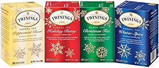 Twinings of London Holiday Variety Tea Bag Pack, Peppermint Cheer, Holiday Berry, Christmas Tea, Winter Spice, 20 Count (Pack of 4)