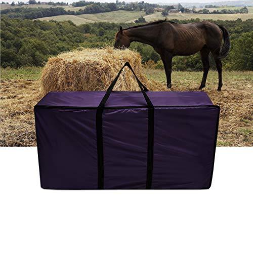 ESSORT Hay Bag, Horse Feeding Bag Car Trunk Furniture Storage Bag Large Capacity Dampproof Zip Closure Large Capacity Portable Handles Carry Bale Bag for Moorland Rider Horse Feeder Riding Gear Purple