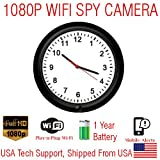 SecureGuard 1080P HD WiFi Wireless IP Wall Clock Hidden Security Nanny Cam Spy Camera (Long 1 Year Battery Life Model)