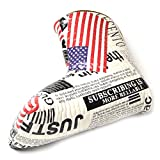 GOOACTION USA Golf Club Blade Putter Cover Magnetic Closure Creative American Flag and Newspaper Pattern Design Synthetic Leather Putters Headcover