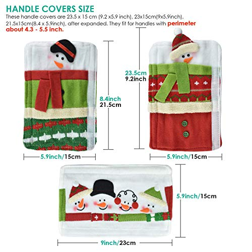 Alcoon Set of 3 Christmas Snowman Refrigerator Door Handle Covers Kitchen Appliance Handle Covers Christmas Decoration for Refrigerator Microwave Oven Dishwasher Kitchen Appliances 5 x 15.7 Inch