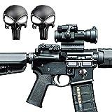 Pack of 2 Tactical 3D Skull Magwell Metal Decal Sticker for AR-15 M4 M16 MP5 AK47 Lower Receivers 5.56 NATO .22LR Magazine Skin Badges Emblem Decor Sticker - Skull Black