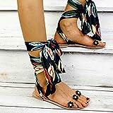 Sandalias Planas Verano Mujer Estilo Bohemio Plano Sandalias con strass Elegantes Flip Flop Playa Moda Chanclas Talla 35-43,Negro,38