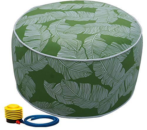 Kozyard Inflatable Stool Ottoman Used for Indoor or Outdoor, Kids or Adults, Camping or Home (Green Leaf)