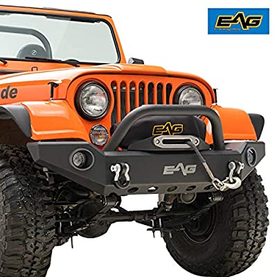 EAG Full Width Front Bumper with LED Lights and Light Frames Fit for 76-86 Wrangler CJ