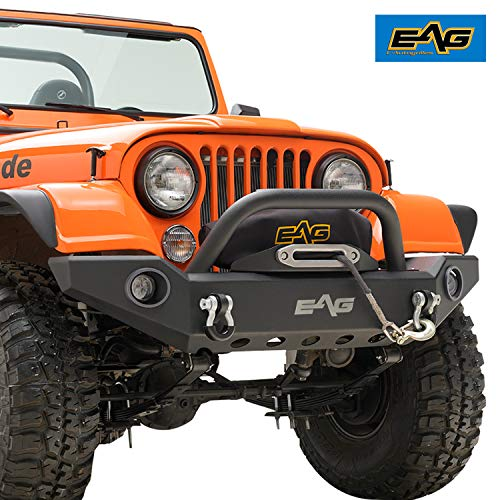 EAG Full Width Front Bumper with LED Lights and Light Frames Fit for 76-86 Wrangler CJ