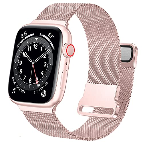 Ycysh Metal Band Compatible with Apple Watch Bands 45mm 42mm 44mm for Women Men, Stainless Steel Mesh Loop Magnetic Strap for iWatch Series 7 6 5 4 3 2 1 SE (42/44/45mm-Rose Gold Pink)