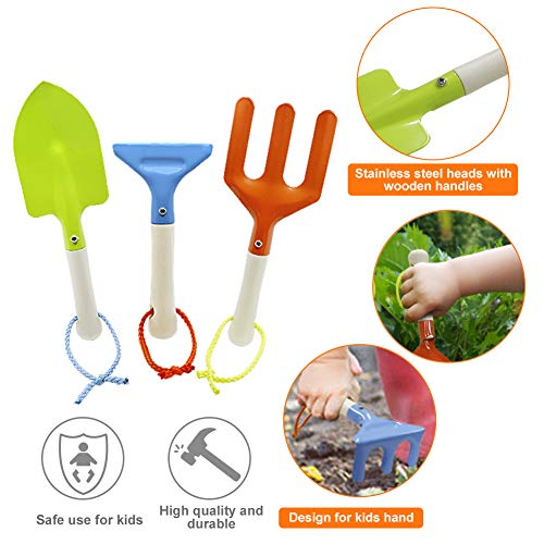 QINGFANGLI Kids Gardening Tool Set, 7pcs Garden Tools for Kids, Shovels, Watering Can, Gloves, Outdoor Beach Toys for Boys and Girls