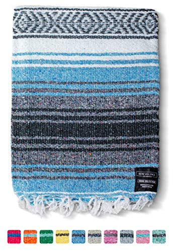 Mexican Blanket, Falsa Blanket | Authentic Hand Woven Blanket, Serape, Yoga Blanket | Perfect Beach...