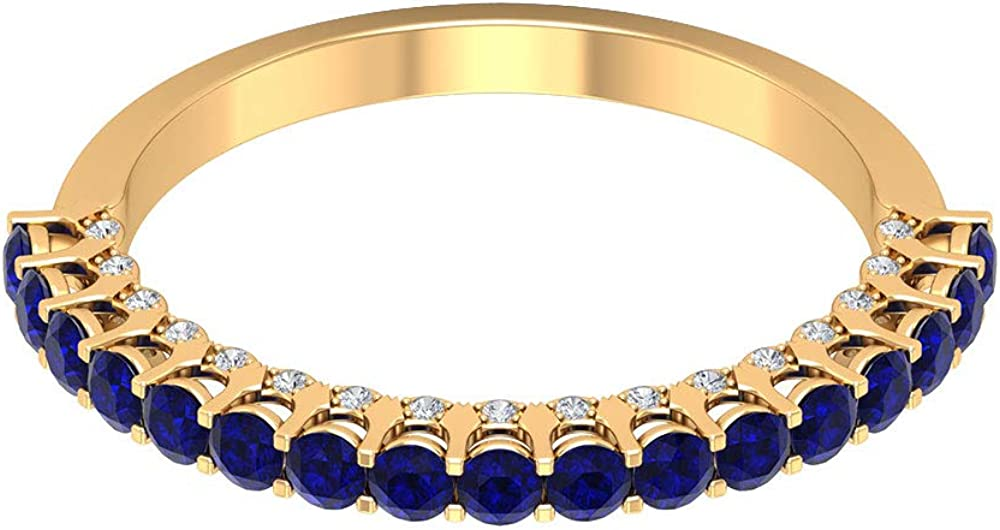 1 Ct Certified Blue Sapphire Lab Created Gold Engagement Ring, 0.11 Ct Diamond Bridal Promise Ring, Antique Half Eternity Ring, Unique Gemstone Wedding Band Ring, 14K Gold