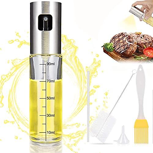 Ölsprüher Flasche 100ML, 5 in 1 Öl Sprühflasche, Essig spritzer Ölspender, Transparent Öl Sprayer, Öl Auslöser Glasflasche mit Bürstefür Kochen, Salat, BBQ, Pasta, BPA-Free and 100% Food Safety