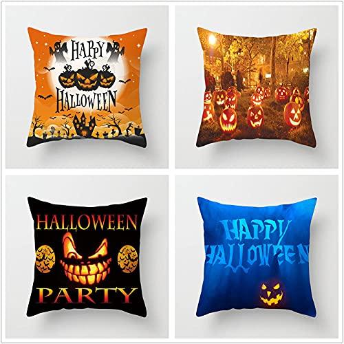 Super Suave Funda de Almohada, Calabaza Negra Halloween 4 Pack Algodón Lino Throw Pillow Case Fundas de Cojines para Cojín Hogar Decorativa Almohada para Sofá Coche Cama Sillas 50x50cm(20x20in)