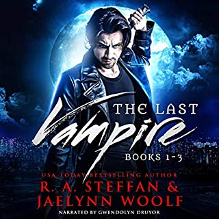 The Last Vampire: Books 1-3     Last Vampire Bundle, Book 1              By:                                                                                                                                 R. A. Steffan,                                                                                        Jaelynn Woolf                               Narrated by:                                                                                                                                 Gwendolyn Druyor                      Length: 20 hrs and 44 mins     2 ratings     Overall 4.0