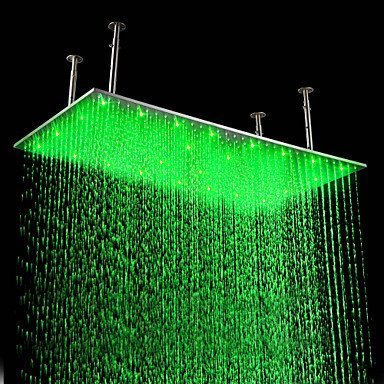 Review Of 20 x 39 inch Stainless Steel Shower Head with Color Changing LED Light