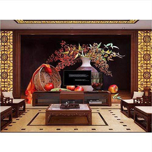 Meaosy Aangepaste 3D Behang Fotobehang Woonkamer Mural Vaas Fruit Stilleven Hd Schilderen Fotokamer Mural Wallpaper voor Muren 3 D 450x300cm