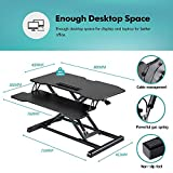 Fenge Standing Desk Converter 32in Black Height Adjustable Desk Converter with Keyboard Tray Sit to...