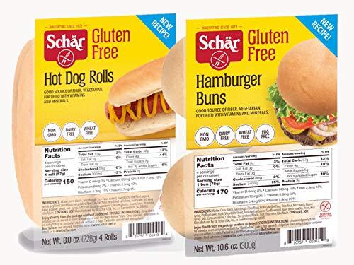 Schar Gluten Free Hot Dog and Hamburger Bun Combo | 8 Total Buns