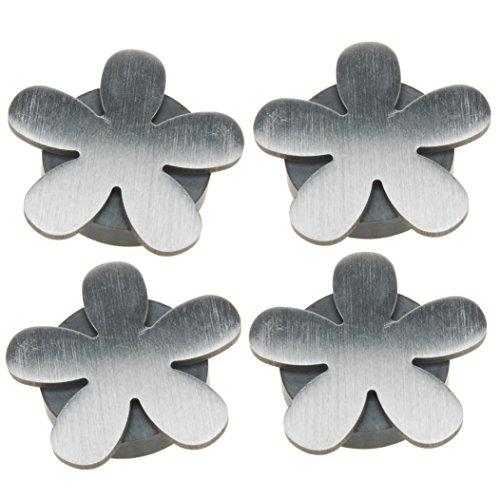 Venilia Tischtuchbeschwerer Tischtuchhalter Tischdeckengewichte, 4Stk, Metall, Silber, 5 x 5,5 x 0,5 cm, 54205, Blume Magnet