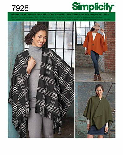 Simplicity 7928,OS Schnittmuster Poncho (Damen, Gr, One Size)