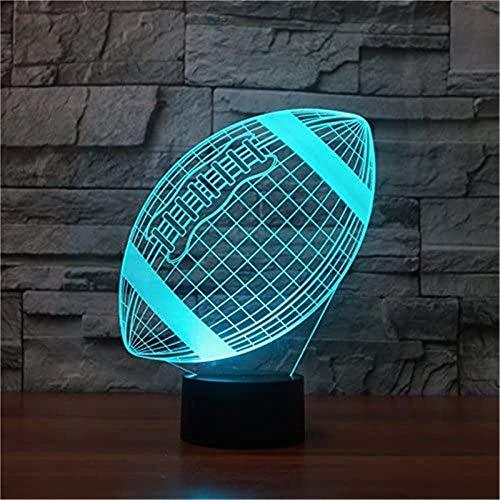 Lámpara de ilusión 3D Rugby Led noche luz 16 cambio de color lámpara de mesa USB Power Touch remoto acrílico flash bebé sueño mejor regalo de Navidad juguete