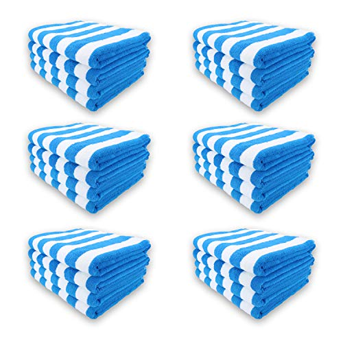 Arkwright Oversized Beach Towels (35x70, 24 Bulk Case Pack), Ringspun Cotton Double Yarn Strength, Perfect Blue Striped Pool Towel, Beach Towel, Bath Towel