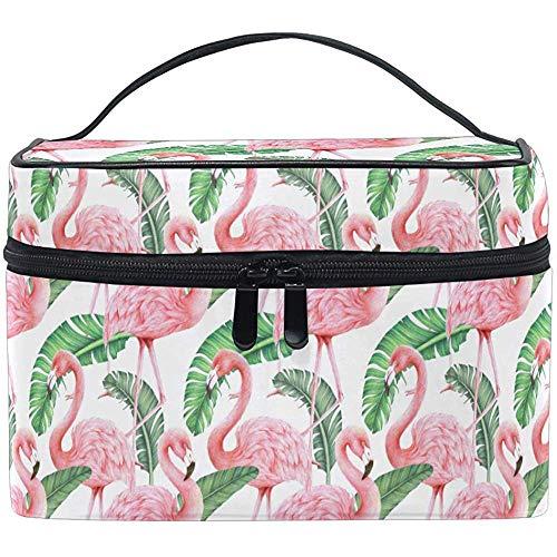 Feuilles de Palmier Tropical Sac de Brosse de Toilette Flamingo Pattern Zip Transportant Une Pochette de Rangement Portable Sacs Boîte
